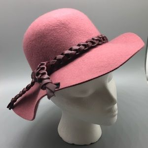 American Girl blush pink felt boho wide brim hat